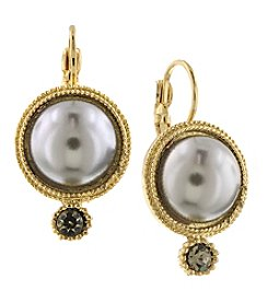 1928® Signature Goldtone Grey Simulated Pearl with Black Diamond Accent Round Drop Earrings