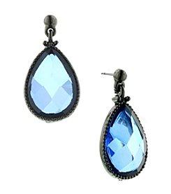 1928® Signature Jet Black Blue Faceted Teardrop Earrings