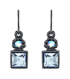 1928® Signature Jet Black Sapphire Blue Color and Blue AB Drop Earrings