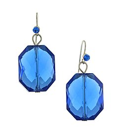 1928® Signature Silvertone Dark Sapphire Blue Color Faceted Drop Earrings