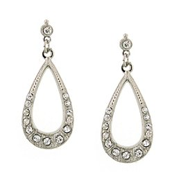 1928® Signature Silvertone Crystal Teardrop  Earrings