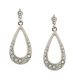 1928® Signature Silvertone Crystal Teardrop  Earrings