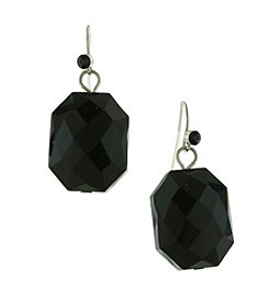 1928® Signature Silvertone Black Faceted Drop Earrings