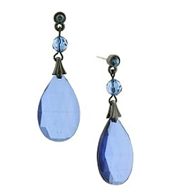 1928® Jewelry Jet Black Blue Briolette Teardrop Earrings