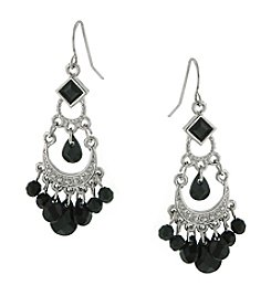 1928® Jewelry Silvertone Black Chandelier Earrings
