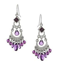 1928® Jewelry Silvertone Amethyst Purple Color Crystal Chandelier Earrings