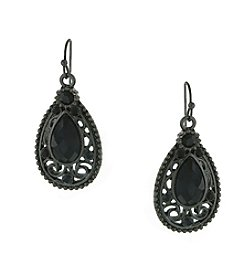 1928® Signature Jet Black Faceted Filigree Teardrop Earrings