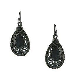 1928® Jewelry Jet Black Faceted Filigree Teardrop Earrings