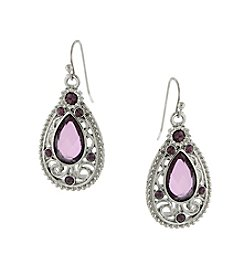 1928® Jewelry Silvertone Amethyst Purple Filigree Teardrop Earrings
