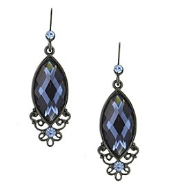 1928® Jewelry Jet Black Blue Navette Drop Earrings