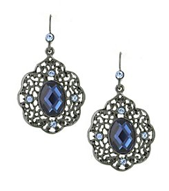 1928® Signature Jet Black Blue Filigree Drop Earrings