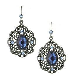 1928® Jewelry Jet Black Blue Filigree Drop Earrings