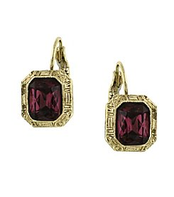 1928® Signature Goldtone Amethyst Purple Color Square Drop Earrings