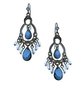 1928® Jewelry Jet Black Blue Briolette Chandelier Earrings