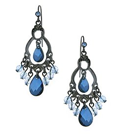 1928® Jewelry Jet Black Blue Briolette Chandelier Earrings