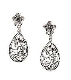 1928® Signature Silvertone Pear-shaped Scroll Post Earrings