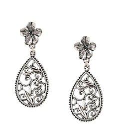 1928® Jewelry Silvertone Pear-shaped Scroll Post Earrings