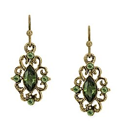 1928® Jewelry Goldtone Olivine Green Crystal Drop Earrings