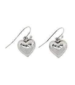 1928® Signature Silvertone Heart Drop Earrings