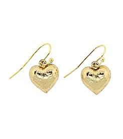 1928® Jewelry Goldtone Heart Drop Earrings