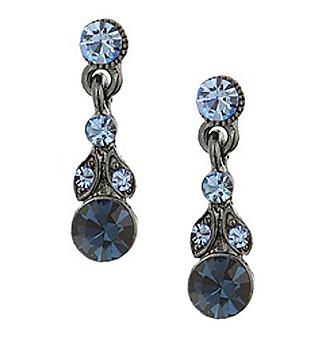 1928® Jewelry Jet Black Blue Drop Earrings