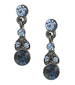 1928® Jewelry Jet Black Blue Drop Earrings