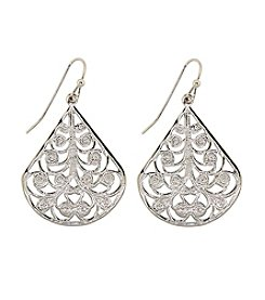 1928® Signature Silvertone Filigree Pear-shaped Earrings