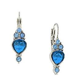 1928® Signature Silvertone Sapphire Blue Drop Earrings