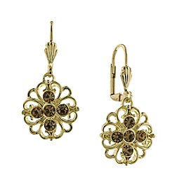 1928® Signature Goldtone Light Topaz Color Filigree Flower Drop Earrings