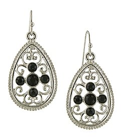 1928® Signature Silvertone Black Filigree Teardrop Earrings