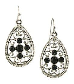 1928® Jewelry Silvertone Black Filigree Teardrop Earrings
