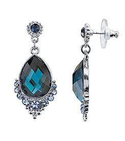 1928® Signature Silvertone Blue Teardrop Earrings