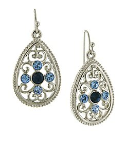 1928® Signature Silvertone Blue Filigree Teardrop Earrings