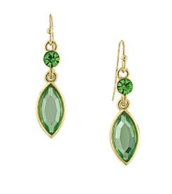 1928® Signature Goldtone Green Navette Drop Earrings