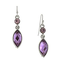 1928® Signature Silvertone Amethyst Purple Color Navette Drop Earrings