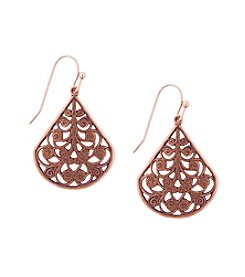 1928® Jewelry Rose Goldtone Filigree Wire Earrings