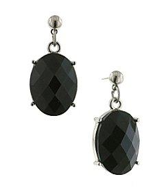 1928® Jewelry Silvertone Black Oval Faceted Drop Earrings