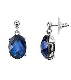 1928® Jewelry Silvertone Blue Oval Faceted Drop Earrings