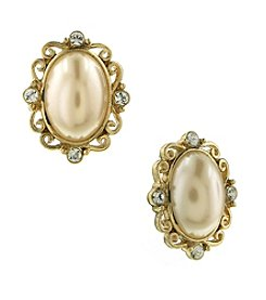 1928® Jewelry Goldtone Simulated Pearl and Crystal Oval Button Earrings