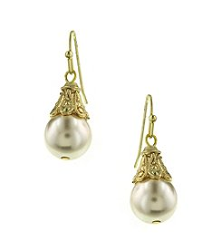 1928® Jewelry Goldtone Simulated Pearl Drop Earrings