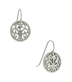 1928® Signature Silvertone Round Drop Earrings