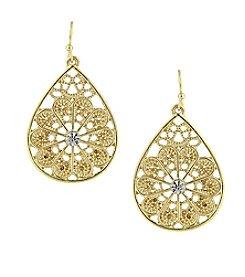 1928® Jewelry Goldtone Crystal Filigree Teardrop Earrings