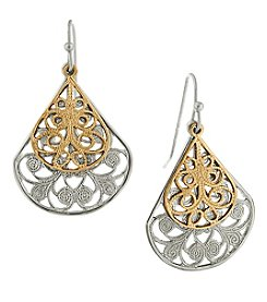 1928® Jewelry Silvertone Filigree Teardrop with Goldtone Overlay Earrings