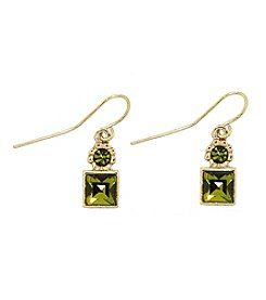 1928® Jewelry Goldtone Olivine Green Drop Earrings
