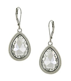 1928® Jewelry Silvertone Crystal Faceted Pear-Shaped Drop Earrings
