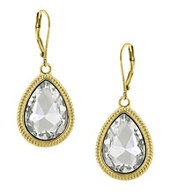 1928® Jewelry Goldtone Crystal Faceted Pear-Shaped Drop Earrings