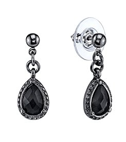 1928® Jewelry Jet Black Faceted Teardrop Earrings