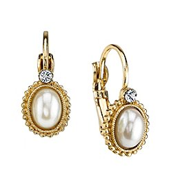 1928® Jewelry Goldtone Simulated Pearl with Crystal Accent Leverback Earrings