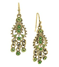 1928® Jewelry Goldtone Green Chandelier Earrings