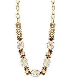 1928® Jewelry Goldtone Light Topaz Color Faceted Beaded Collar Necklace 16